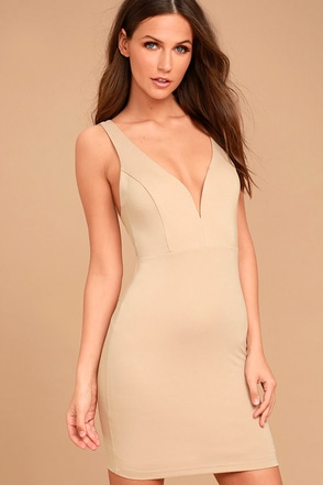 Perfect Pick Light Beige Bodycon Dress 1