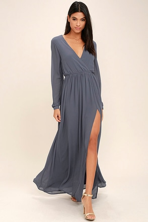 Wondrous Water Lilies Slate Grey Long Sleeve Maxi Dress 1