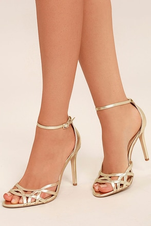 Jewel by Badgley Mischka Haskell II Gold Ankle Strap Heels 1