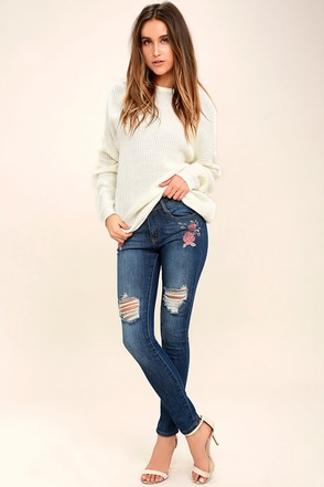 Flower Child Medium Wash Embroidered Distressed Skinny Jeans 1