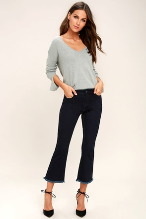 Much To My Delight Dark Wash Cropped Flare Jeans 1