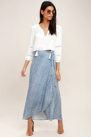 Anniversary White and Blue Striped High-Low Wrap Skirt 1