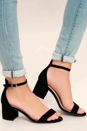 Harper Black Suede Ankle Strap Heels 1