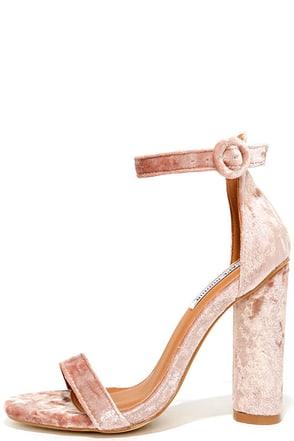 Talullah Blush Velvet Ankle Strap Heels 1