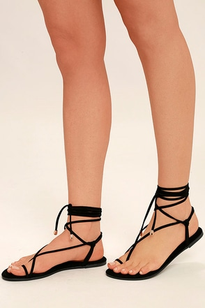 Micah Black Lace-Up Flat Sandals 1