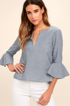 Take Me Somewhere Blue and White Striped Top 1