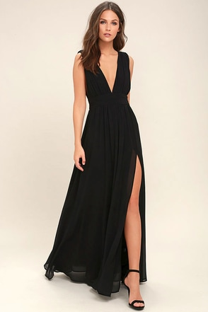 Heavenly Hues Black Maxi Dress 1