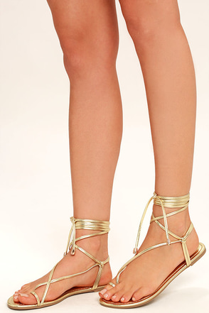 Micah Light Gold Lace-Up Flat Sandals 1
