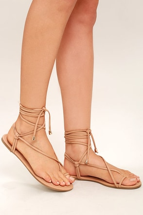 Micah Nude Lace-Up Flat Sandals 1