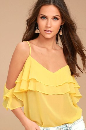 Feeling Sentimental Yellow Off-the-Shoulder Top 1