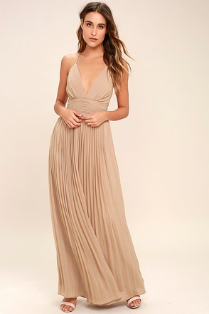 Stunning Nude Dress Pleated Maxi Dress Beige Gown 78 00