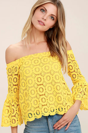 Good Day Yellow Crochet Off-the-Shoulder Top 1
