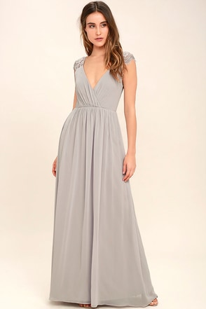 Whimsical Wonder Light Grey Lace Maxi Dress 1