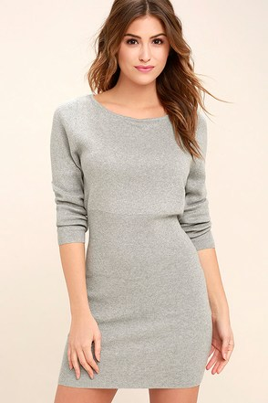 All-Time Favorite Heather Grey Bodycon Sweater Dress 1