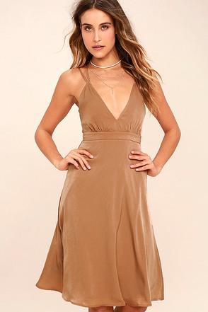 Ambiance Light Brown Midi Dress 1