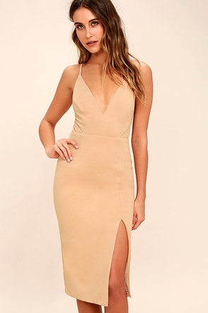 Chart Topper Beige Bodycon Dress 1