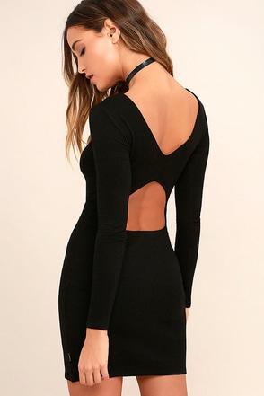 RVCA Fallen Black Long Sleeve Bodycon Dress 1
