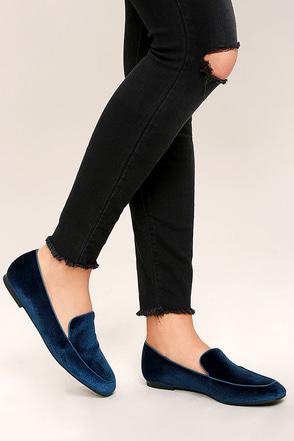 Chinese Laundry Gabby Blue Velvet Loafers 1