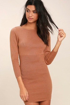 All-Time Favorite Terra Cotta Bodycon Sweater Dress 1