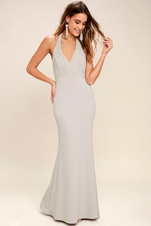 Love Potion Grey Lace Halter Maxi Dress 1