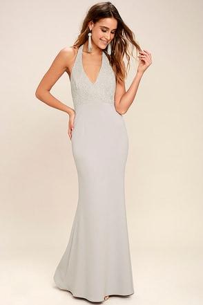Lovely Grey Dress Halter Dress Maxi Dress Lace Dress