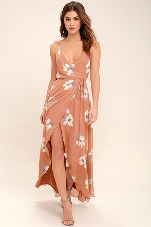 All Mine Rusty Rose Floral Print High-Low Wrap Dress 1
