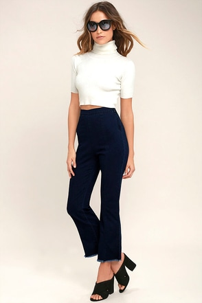 Michigan Avenue Dark Wash High-Waisted Cropped Flare Jeans 1