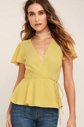 Modern Gal Yellow Wrap Top 1