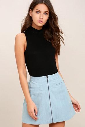 Zippity Doo Dah Blue Chambray Mini Skirt 1