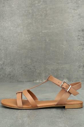 Nia Tan Flat Sandals 1