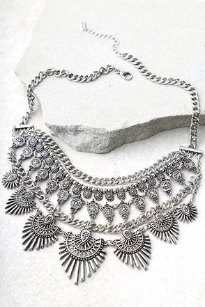 Flair for the Dramatic Silver Statement Necklace 1
