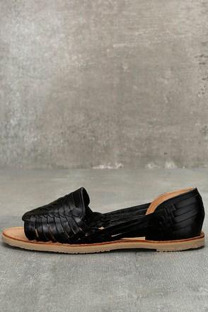 Sbicca Jared Black Leather Huarache Flats 1