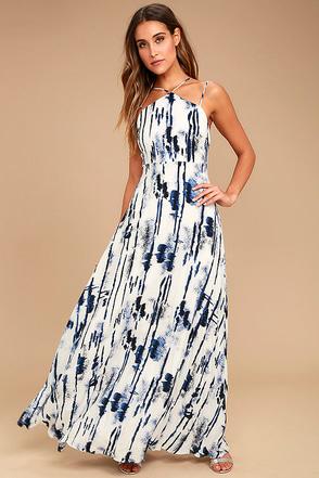 Sea Me Now Blue and White Print Maxi Dress 1