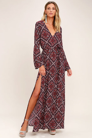 Music Lessons Burgundy Print Maxi Dress 1
