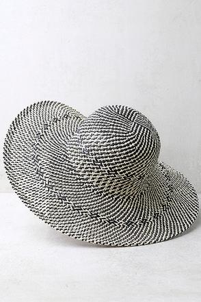 San Diego Hat Co. Antonella Beige and Black Floppy Straw Hat 1