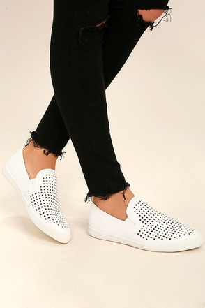 Perla White Perforated Slip-On Sneakers 1