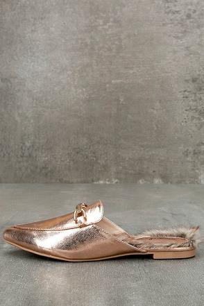 Antonia Rose Gold Faux Fur Loafer Slides 1