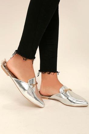 Antonia Silver Faux Fur Loafer Slides 1