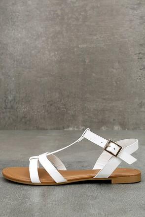 Nia White Flat Sandals 1