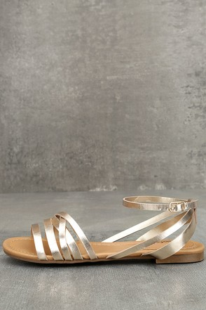 Zoila Champagne Ankle Strap Flat Sandals 1