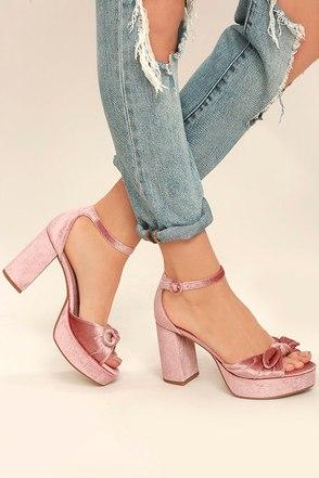 Chinese Laundry Tina Rose Pink Velvet Platform Heels 1