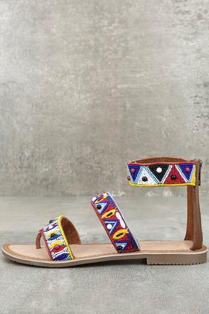 Chinese Laundry Phoebe Cognac Beaded Leather Flat Sandals 1