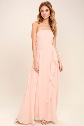 Sweetest Kiss Blush Pink Strapless Maxi Dress 1