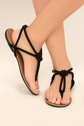 Cute Black Suede Sandals Flat Sandals Knotted Sandals
