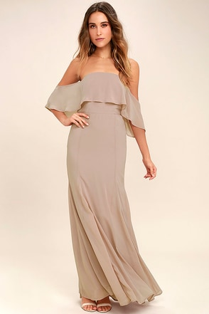 All My Heart Taupe Off-the-Shoulder Maxi Dress 1