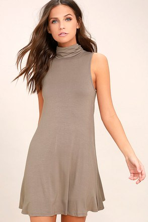 Carpe Diem Taupe Swing Dress 1