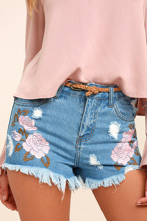 Posy Parade Light Wash Embroidered Distressed Denim Shorts 1
