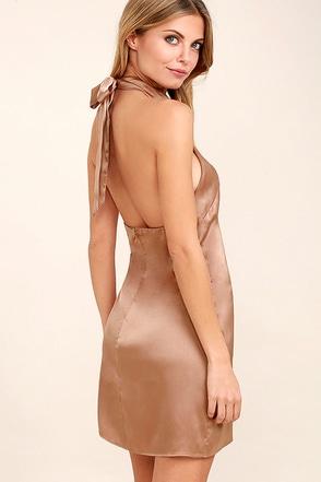 One Day Light Brown Satin Halter Swing Dress 1