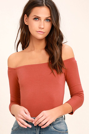 Like a Bird Rust Red Off-the-Shoulder Bodysuit 1