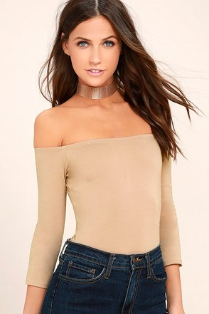 Like a Bird Taupe Off-the-Shoulder Bodysuit 1